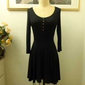 Forever 21 Black Button Down Long Sleeve Dress